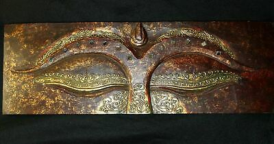 Wise Eyes of Buddha Wall art panel Carved Wood Relief Asian Style Home Decor