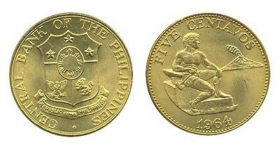 Philippines 5 Centavos 1964 Au Male Seated Beside Hamme