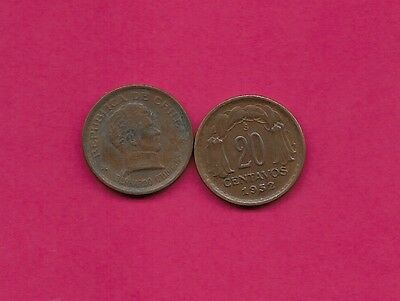 Chile Rep 20 Centavos 1952 Vf-Xf This Coin Is Called Chaucha Armored Bust Of Ber