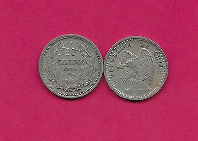 Chile Rep 20 Centavos 1940 Vf-Xf Defiant Condor On Rock Left,with O. Roty At Bot