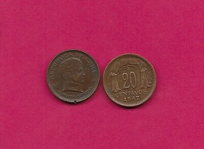 Chile Rep 20 Centavos 1947 Vf-Xf This Coin Is Called Chaucha Armored Bust Of Ber
