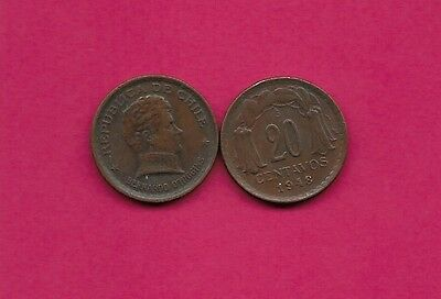 Chile Rep 20 Centavos 1948 Vf-Xf This Coin Is Called Chaucha Armored Bust Of Ber