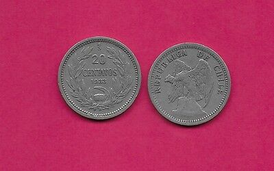 Chile Rep 20 Centavos 1933 Vf-Xf Defiant Condor On Rock Left,with O. Roty At Bot