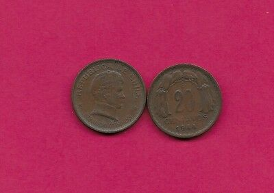 Chile Rep 20 Centavos 1944 Vf-Xf This Coin Is Called Chaucha Armored Bust Of Ber
