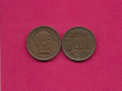 Chile Rep 20 Centavos 1942 Vf-Xf This Coin Is Called Chaucha Armored Bust Of Ber