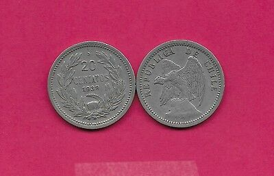 Chile Rep 20 Centavos 1939 Vf-Xf Defiant Condor On Rock Left,with O. Roty At Bot