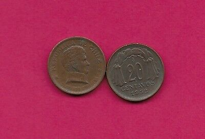 Chile Rep 20 Centavos 1953 Vf-Xf This Coin Is Called Chaucha Armored Bust Of Ber