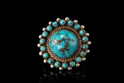 Vintage Navajo T.a.h. Silver Blue Turquoise Ring  A802-52