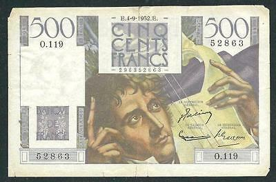 """France1952 Five Hundred Franc Banknote """"scarce"""" #3904 Low Price & Free Ship"""