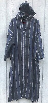 Antique Vintage 1900's 1910's 1920's Hooded Striped Wool Robe Parka Jacket XL
