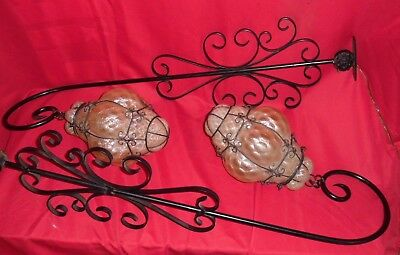 Pair Vintage Hollywood Regency Wrought Iron Italian Wall Bracket Lamps