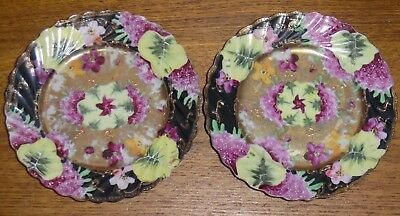 Pair Of Small Antique Japanese Satsuma Plates / Dishes - 6 1/4""