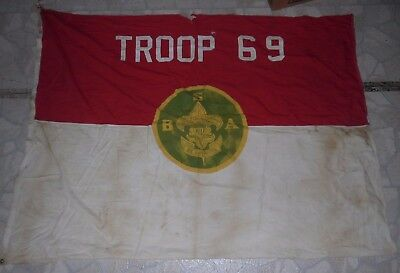 "Vintage Defiance Boy Scouts Flag - Troop 69 - Tattered & Worn - 62"" x 49"""