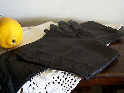 VTG Long Black Leather Gloves,Detailed Top Stitching -  Metis Italy,Silk Lining