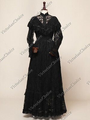 Black Long Edwardian Victorian Vintage Lace Party Ball Dress Steampunk N 392