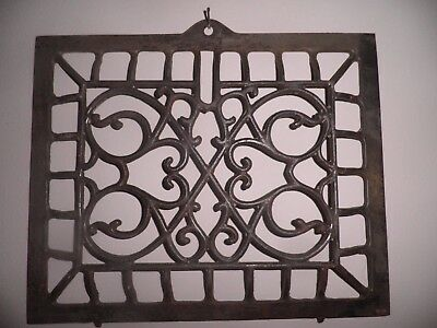 Antique Ornate Cast Iron Victorian Heat Grate Register Vent Vintage