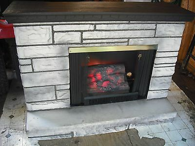 VINTAGE FAKE ELECTRIC GLOW LOG FIREPLACE LIMESTONE HEARTH 1970s CAN SEPARATE