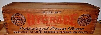 HYGRADE Pasteurized Cheese Dovetailed  wood box  vintage  5 Lbs  NICE GRAPHICS