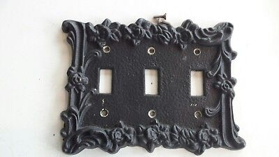 Vintage black Cast Iron Triple Switch Cover Plate Wall Plate wrought decorative