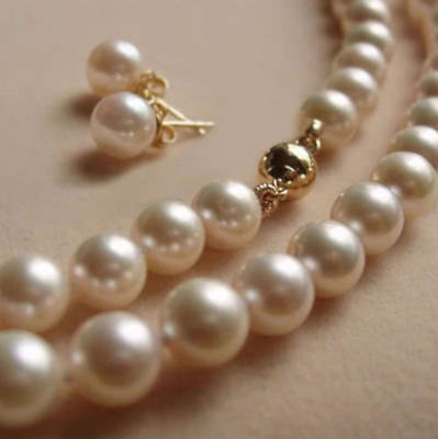"Long 18"" 25"" 36"" 50"" 8mm White Akoya Shell Pearl Necklace+Earring Set"