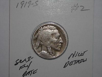 Buffalo Nickel 1919S Semi-Key Date Indian Head 5 Cent Lot #2 1919-S Nice Details