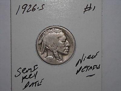 Buffalo Nickel 1926S Indian Head 5 Cent 1926-S Lot #1 Vg/f Details Semi-Key Date