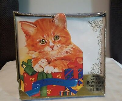 New Old Stock Christmas Cards By Kristen Cat theme Gift Box 20 cards envelopes