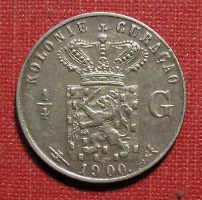 1900 Curacao 1/4 Gulden - Scarce, Low Mintage First Year Issue, Please View