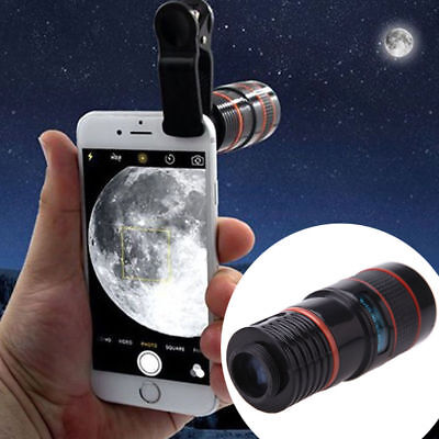 Clip-on 8x Optical Zoom HD Telescope Camera Lens For Universal Mobile Phone