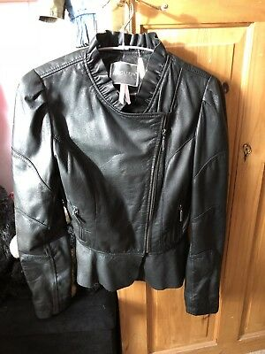 LEATHER victorian  ruffle lipsy jacket Black  steampunk medieval uk 12