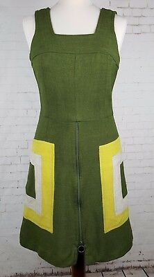 Ladies 60s / 70s Green Vintage Chunky Zip Detail Dress -6-