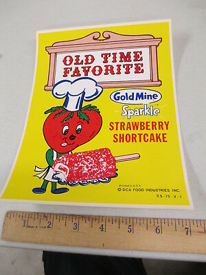 Gold Mine STRAWBERRY SHORTCAKE 1970s ice cream truck window poster sticker sign