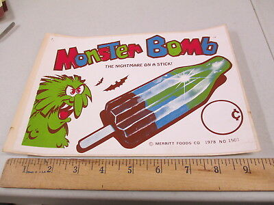 Meritt MONSTER BOMB 1978 ice cream truck poster sticker sign halloween bats