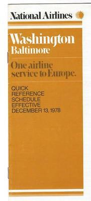 NATIONAL AIRLINES 1978 Washington Baltimore Quick Reference Schedule