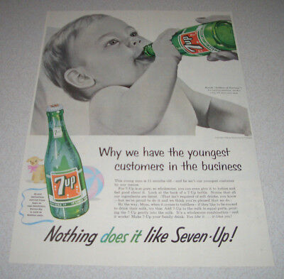 1955 orig. Reklame Werbung USA  7up  Nothing does it like Seven-Up ! Baby