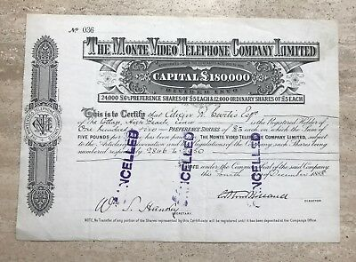 1888 Monte Video Telephone Company Limited Early Stock Certificate Uk Uruguay