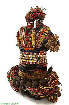 Fali Beaded Fertility Doll with Cowrie Shells Two Heads Cameroon African Art