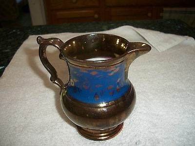 """Antique Copper Sunderland Luster with Wide Blue Band Pitcher - 4 1/2"""""""