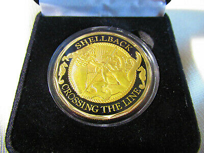 US NAVY - SHELLBACK - CROSSING THE LINE Challenge Coin w/ Presentation Box