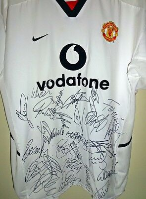 Hand Signed Manchester United Shirt 2002/03 Fa Pemier League Winners Squad