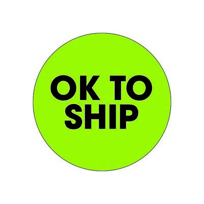 """Thornton's Labels, """"Ok To Ship"""", 2"""" Circle, Fluorescent Green, 500/Roll"""