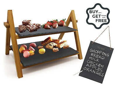 2 Tier Slate Boards Bamboo Serving Tray Afternoon Tea Cake Stand Free Blackboard