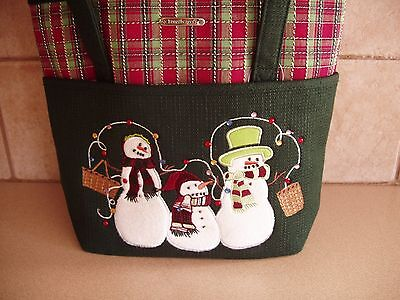 Longaberger Holiday Plaid Snowman Family Tote Bag Purse * Nip * Free Shipping