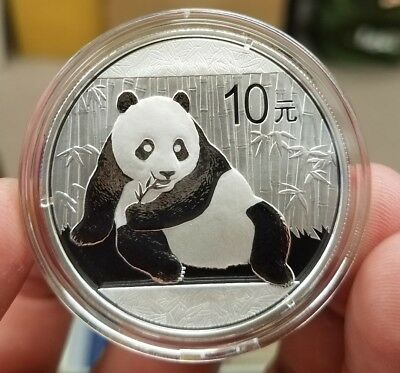 2015 China 10 Yuan 1 oz .999 Silver Panda White Spots