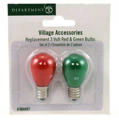Department 56 Village Replacement 3 Volt Red and Green Bulb Lights 804457 New