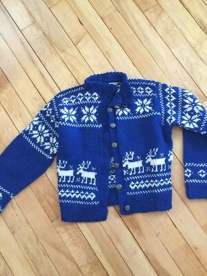 VINTAGE HANDMADE HOMEMADE HAND KNITTED CHILD'S Size 7-10 REINDEER NORDIC SWEATER