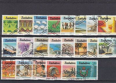 a124 - ZIMBABWE - SG659-680 NH/CTO 1985 NATIONAL INFRASTRUCTURE DEFINITIVES