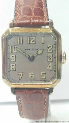 1930s 14K Gold Filled Hamilton Scarce Mens Brown Leather Band Wristwatch