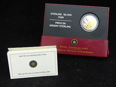 2005 Canada 50 Cents Sterling Silver Coin Golden Rose