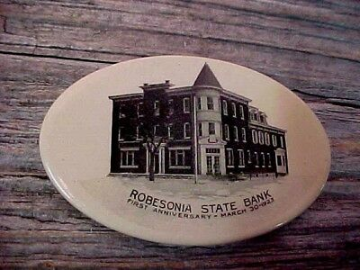 Vintage Robesonia  State Bank Anniversary March 1923 Pocket Mirror